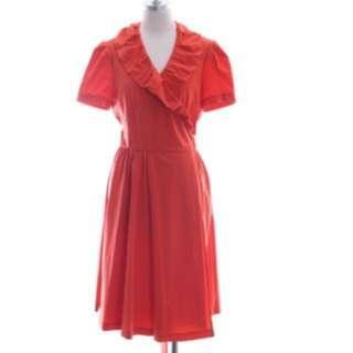 🚚 DVF Dvf 橘紅色亮眼洋裝(大降價)