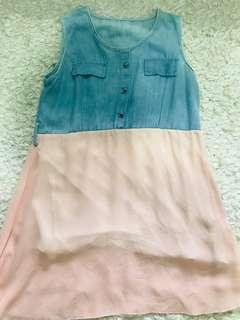 Denim pink dress