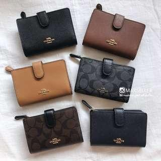 全新 有單 coach 中長銀包 美國  outlet 代購 Cross grain leather medium corner zip wallet purse 短銀包