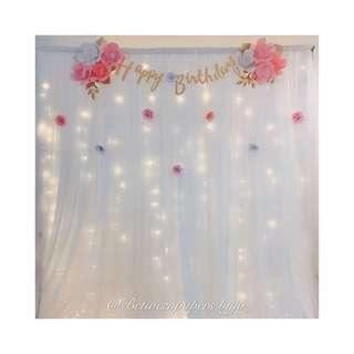 Paper flower backdrop for Birthday