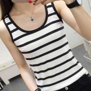 New Black & White Stripe Sleeveless T-Shirt (Size S)