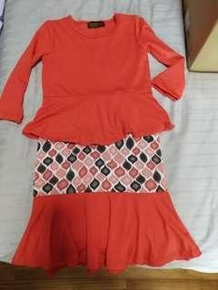 (Free Normal Mail)Used once Girl Dress Modern Kurung Peplum by BumbleTee 3T