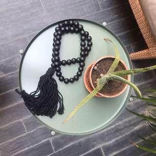 Large black Buddha beads w tassel