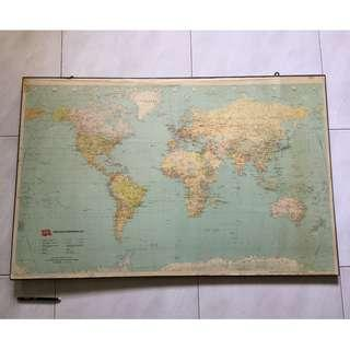 Ben Containers Ltd world map printed in 1988 with frame