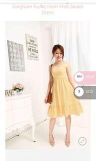 BN Kissa Ruffles Midi Yellow Dress