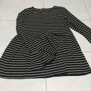Black and Grey Striped Babydoll Top