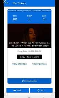 BILLIE EILISH VERIFIED CONCERT TICKET