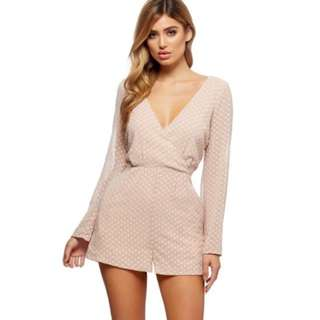 1ccd2e2cc2 KOOKAI Sophie Spot Playsuit Baby Pink Nude White Polka Dot Chiffon Low Cut  Front Open Tie