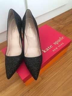 Kate Spade Licorice Black Glitter Heels