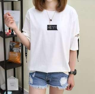 🚚 Women's Hey White T-shirt with Cut Sleeve