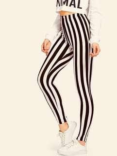 Black and white striped jeggings/tights