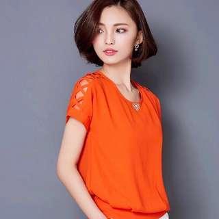 🚚 Brand new Chiffon ladies top in all black or orange