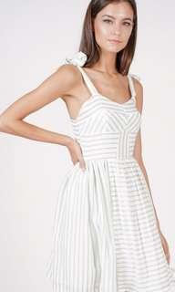 BN Brand New MDS Delaney Gathered Mint Dress White Pleated