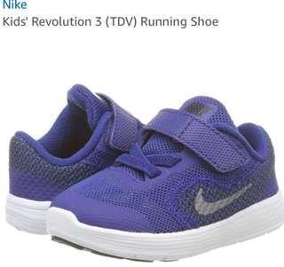 BN Brand New Auth Kids Kid Boy NIKE Revolution TDV Running Shoes Toddler Shoe Lightweight Mesh Blue Grey White Authentic