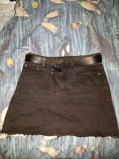 high waisted black glassons denim skirt