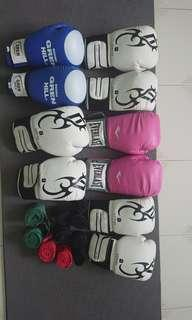 Clearing Boxing gloves and hand wraps