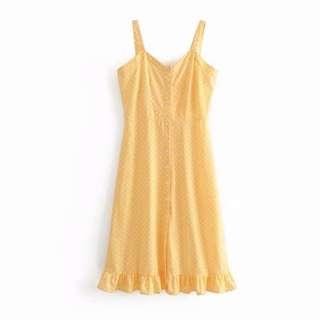 Yellow and White Polka Dots Midi Dress