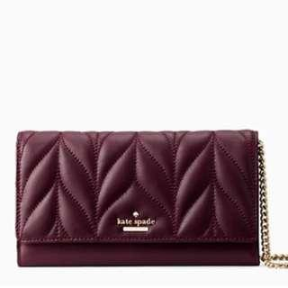 Time Sales! Authentic Kate Spade WOC WLRU5131 Briar Lane Quilted Milou Crossbody Sling Bag Wallet On Chain