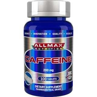 READY STOCK ALLMAX Nutrition, 100% Pure Caffeine + Easy-To-Cut in Half Pill, 200 mg, 100 Tablets