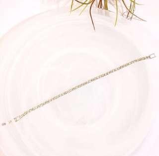 日系銀色細鑽手鍊/日系復古玫瑰珍珠耳環