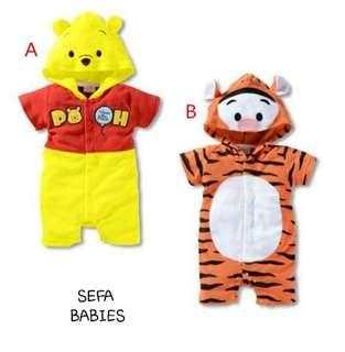 🚚 Pooh And Tigger Romper With Hoodie