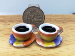 🚚 Dollhouse Miniature : 2cups of coffee with saucer