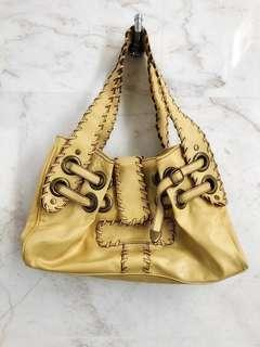 ALDO daffodil yellow shoulder bag with woven & metal hooped details