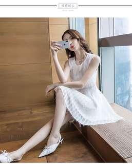 🚚 A1017韓國名媛氣質無袖連衣裙