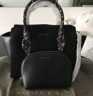 🚚 Charles & Keith Women Large Scarf Handbag