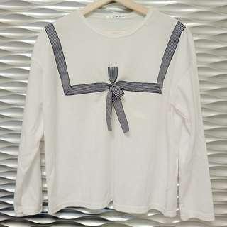 🚚 [韓國購入]白色假水手領長袖上衣