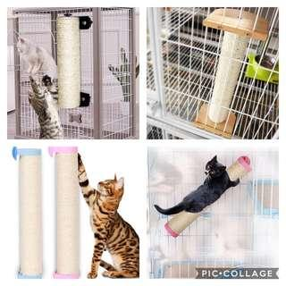 (New!) cat cage sisal scratch pole scratcher play toy