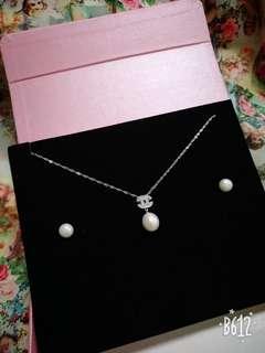 🚚 母親節~天然珍珠項鏈耳環套組