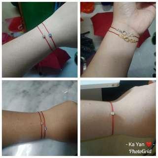 藍/白色閃石紅繩*手繩 bracelet