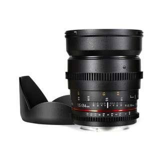 🚚 Samyang 24mm T1.5 VDSLR II Cine Full Frame Lens (Canon EF mount 24mm T1.5 t 1.5)