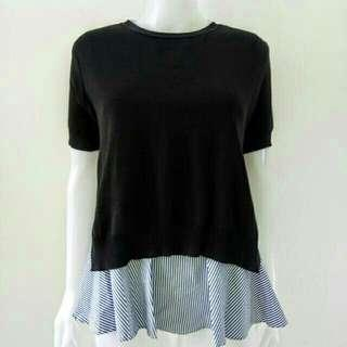 NEW two piece Korean blouse with stripes