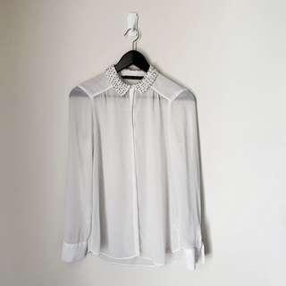 Zara Sequined Sheer Top