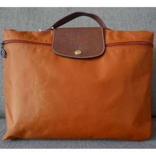Authentic Longchamp Le Pliage Document Holder Mandarin Orange