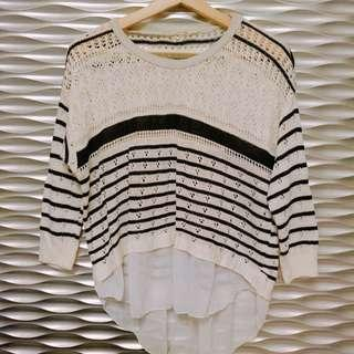 🚚 黑白條紋透膚針織雪紡上衣