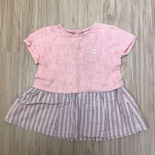 🚚 近全新Zara小女童粉色棉麻洋裝 74公分