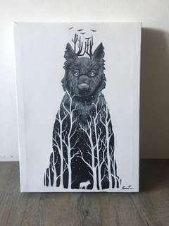 🚚 GAME OF THRONES HOUSE STARK WOLF Painting Hand-Made