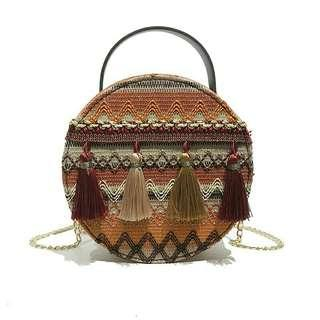 Round Embroidery Tassel Bag