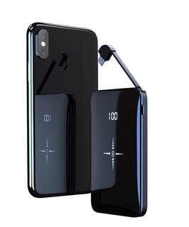 9D 鏡面玻璃無缐充電寶 迷你版大容量 旅遊輕便裝 可隨身放衣服褲袋 附帶有線充電 可換 Type C Lightning Micro 接頭 自動感應開關 10000mAh Mini Wireless Power Bank For iPhone Samsung Galaxy Huawei HTC Sony Nokia Xiaomi LG