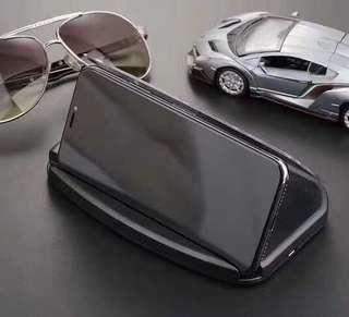 汽車無缐充電手機鏡面導航支架 防滑墊 輕薄 手機支架看電影股市 Wireless Charging HUB Car Navigation Support For iPhone Samsung Galaxy Sony LG Nokia Huawei Xiaomi