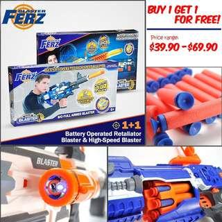 Buy 1 Get 1 for FREE, Ferz Blaster, B/O, Re-chargeable, Retaliator, Full Armed Blaster, Electronic and Big guns