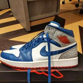 NIKE AIR JORDAN 1 ELEPHANT TRUE BLUE RARE