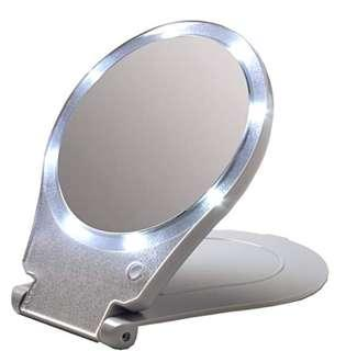Floxite 10x Magnifying 360 Degree Lighted Home & Travel Mirror (Gray)