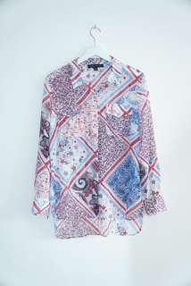 Tommy Hilfiger Patchwork Print Roll Tab Shirt
