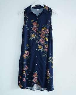 Old Navy Navy Floral Printed Long Blouse