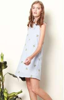 🚚 Floral Gingham Embroidery Trapeze Dress in Light Blue