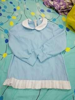 Baby blue peterpan collar top with frills